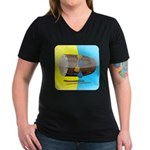 Dhol Player. Women's V-Neck Dark T-Shirt