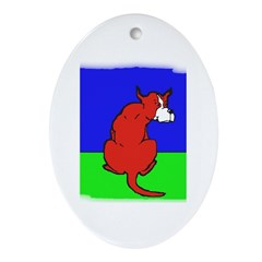 ARTISTIC CARTOON DOG Oval Ornament