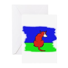 ARTISTIC CARTOON DOG Greeting Cards (Package of