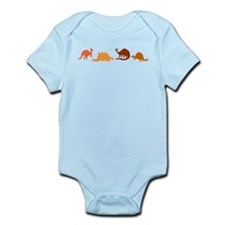 Dinosaurs and Kangaroos on Infant Bodysuit