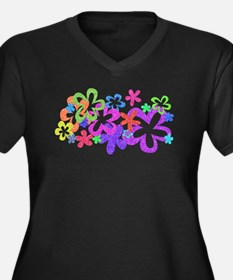 Sparkle Flower Women's Plus Size V-Neck Dark T-Shi