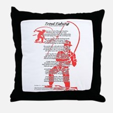 50's Style Fishing Poem Throw Pillow