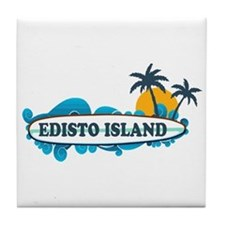 Edisto Island SC - Surf Design Tile Coaster