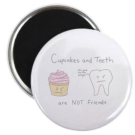 """Cupcakes vs. Teeth - 2.25"""" Magnet (100 pack)"""