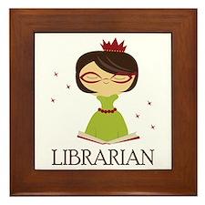 So Cute Librarian Framed Tile
