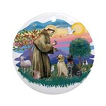 St. Francis #2 / Two Labradors Ornament (Round)