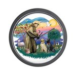 St. Francis #2 / Two Labradors Wall Clock