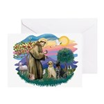 St. Francis #2 / Two Labradors Greeting Card