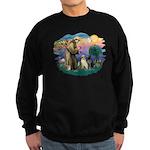 St. Francis #2 / Two Labradors Sweatshirt (dark)