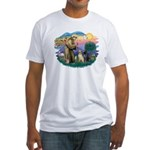 St. Francis #2 / Two Labradors Fitted T-Shirt