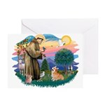 St Francis #2 / Welsh Corgi (P-7b) Greeting Card