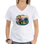 St Francis #2 / Welsh Corgi (P-7b) Women's V-Neck