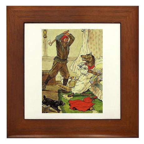 Woodsman Saves Red Riding Hood Framed Tile