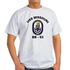 USS Missouri BB 63 Ash Grey T-Shirt
