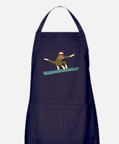 Sock Monkey Snowboarder Apron (dark)
