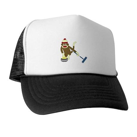Sock Monkey Olympics Curling Trucker Hat