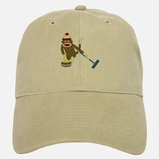 Sock Monkey Olympics Curling Baseball Baseball Cap
