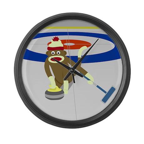 Sock Monkey Olympics Curling Large Wall Clock
