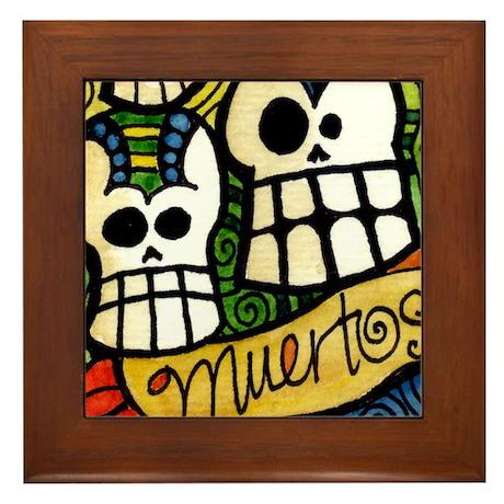 Dia de los Meurtos Sugar Skulls Framed Tile