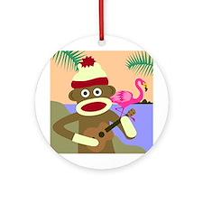 Sock Monkey Ukulele Flamingo Ornament (Round)