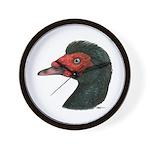 Muscovy Duck Head Black Wall Clock
