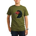 Muscovy Duck Head Black Organic Men's T-Shirt (dar