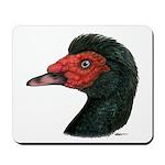 Muscovy Duck Head Black Mousepad