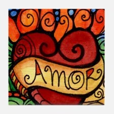 Amor Flaming Milagro Heart Tile Coaster