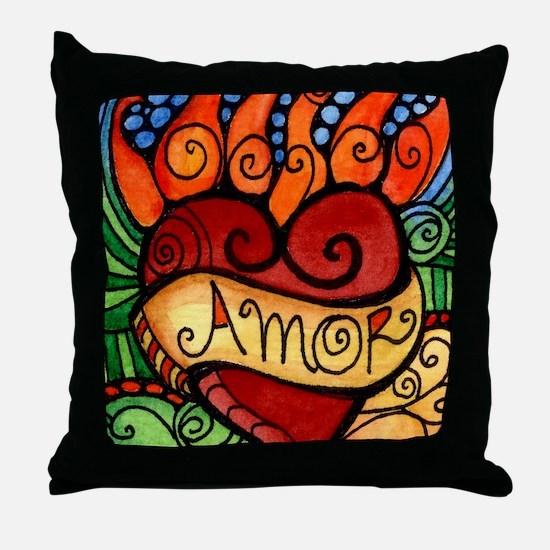 Amor Flaming Milagro Heart Throw Pillow