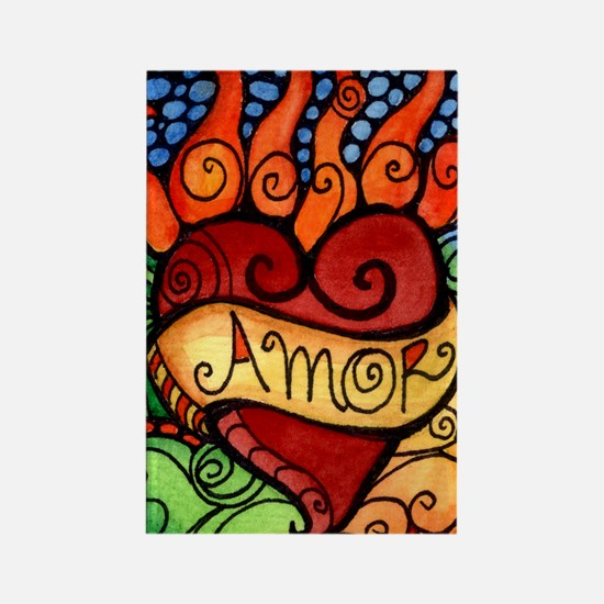 Amor Flaming Milagro Heart Rectangle Magnet