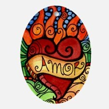 Amor Flaming Milagro Heart Ornament (Oval)