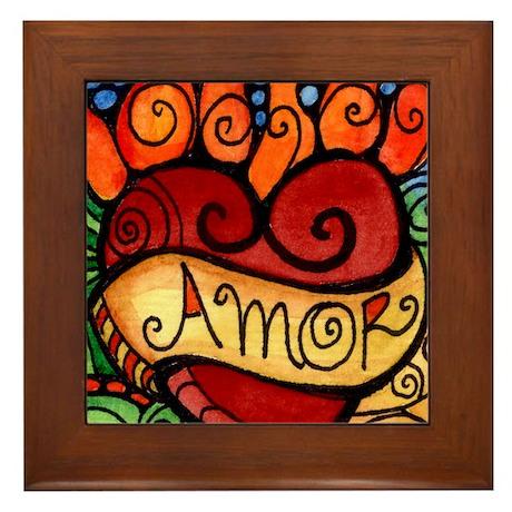 Amor Flaming Milagro Heart Framed Tile