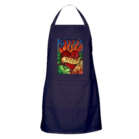 Amor Flaming Milagro Heart Apron (dark)