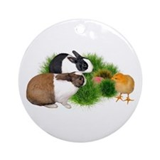 Dutch Bunnies with Chick Ornament (Round)