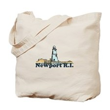 Newport Beach RI - Lighthouse Design Tote Bag