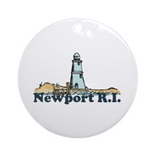 Newport Beach RI - Lighthouse Design Ornament (Rou