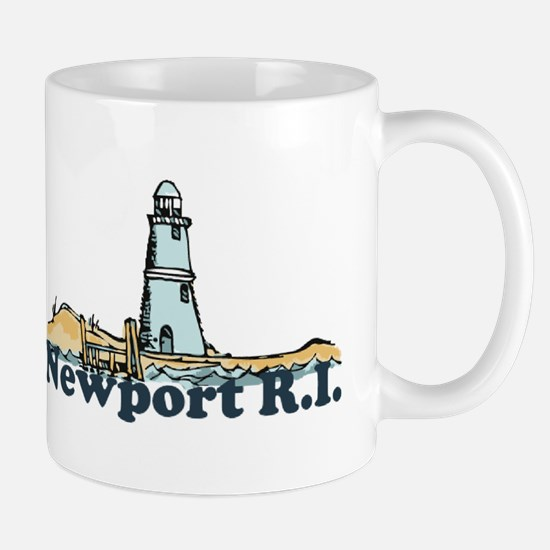 Newport Beach RI - Lighthouse Design Mug