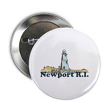 """Newport Beach RI - Lighthouse Design 2.25"""" Button"""