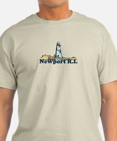Newport Beach RI - Lighthouse Design T-Shirt