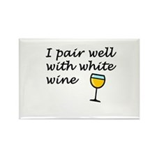 I Pair Well With White Wine Rectangle Magnet