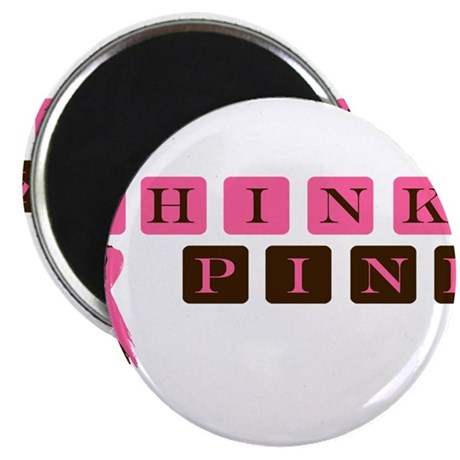 "Think Pink (brown/pink) 2.25"" Magnet (10 pack)"