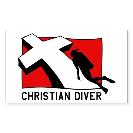 Christian Scuba Diver Rectangle Sticker