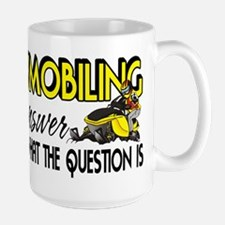 Snowmobiling Is the Answer Large Mug