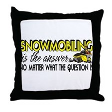 Snowmobiling Is the Answer Throw Pillow