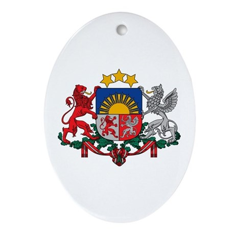 Latvia Coat of Arms Ornament (Oval)