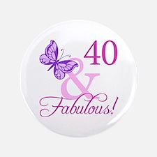 "40 & Fabulous (Plumb) 3.5"" Button"