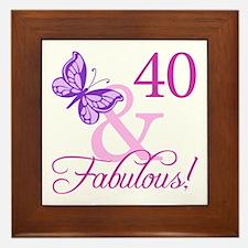 40 & Fabulous (Plumb) Framed Tile