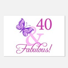 40 & Fabulous (Plumb) Postcards (Package of 8)