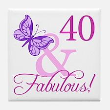 40 & Fabulous (Plumb) Tile Coaster