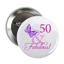 "50 & Fabulous (Plumb) 2.25"" Button"